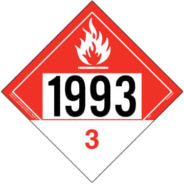 1993 Placard - Class 3 Combustible Liquid