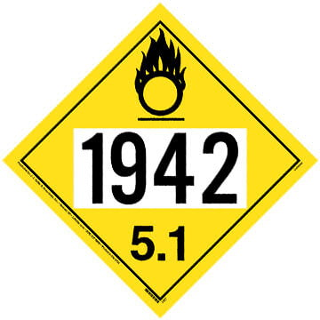 1942 Placard - Division 5.1 Oxidizer