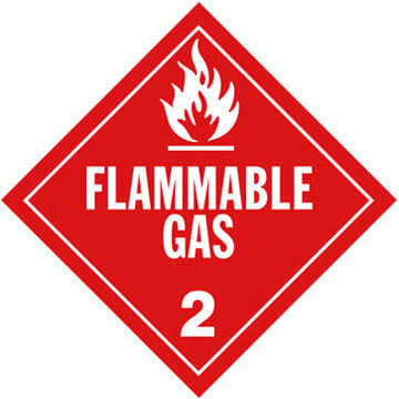 Division 2.1 Flammable Gas Placard - Worded