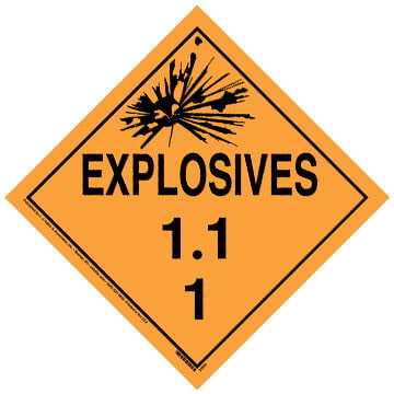 Division 1.1 Explosives Placard - Worded
