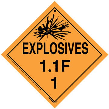 Division 1.1F Explosives Placard - Worded