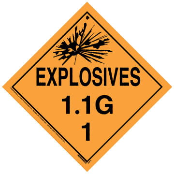 Division 1.1G Explosives Placard - Worded