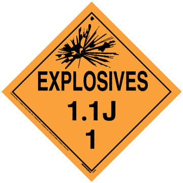 Division 1.1J Explosives Placard - Worded