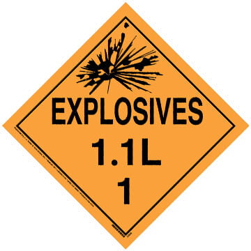 Division 1.1L Explosives Placard - Worded
