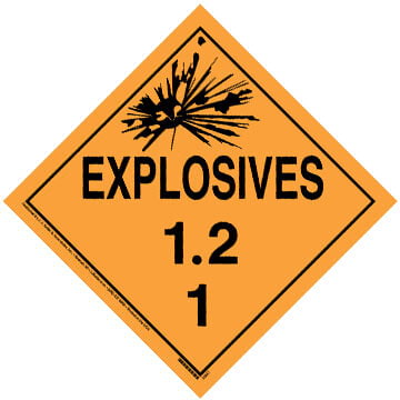 Division 1.2 Explosives Placard - Worded