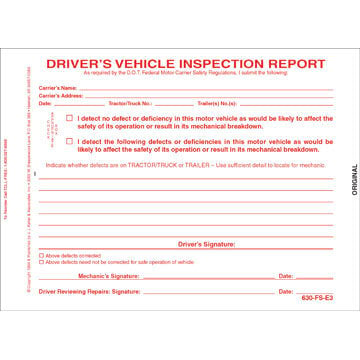 Simplified Driver's Vehicle Inspection Report, 3-Ply, Carbonless, Snap-Out Format - Stock