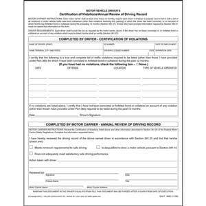 Certification of Violations/Annual Review of Driving Record