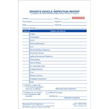 Simplified Driver's Vehicle Inspection Report - Vertical Format, 3-Ply, Carbonless, Snap-Out Format - Stock