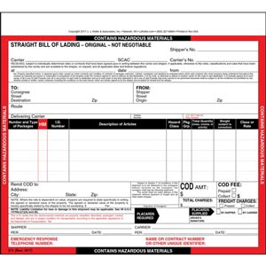 "Hazardous Materials Straight Bill of Lading - Snap-Out, 3-Ply w/ Carbon, 8-1/2"" x 7"""