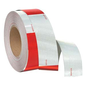 Conspicuity Tape Rolls for Trailers - 6' Red & White, 3M™ Diamond Grade™