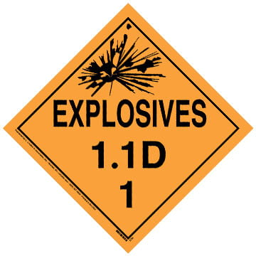 Division 1.1D Explosives Placard - Worded