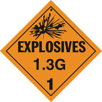Division 1.3G Explosives Placard - Worded