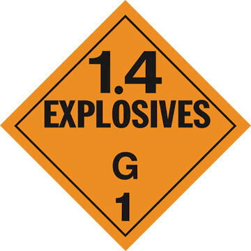 Division 1.4G Explosives Placard - Worded