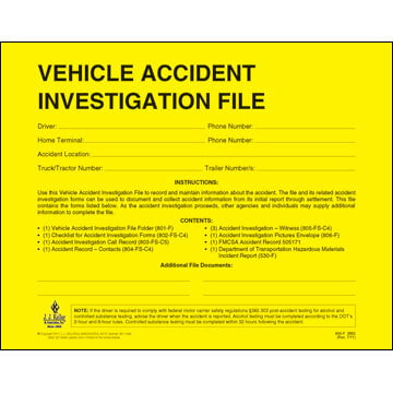 Vehicle Accident Investigation File Folder