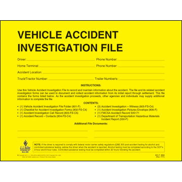 Vehicle Accident Investigation File Packet