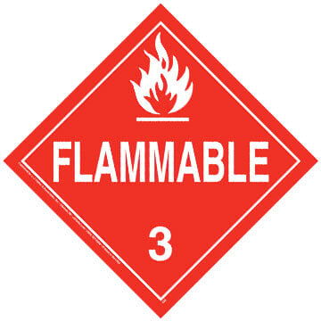 Class 3 Flammable Liquid Placard - Worded