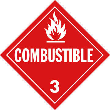 Class 3 Combustible Placard - Worded