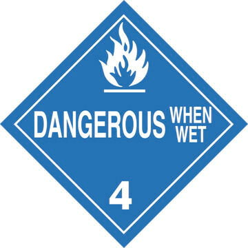 Division 4.3 Dangerous When Wet Placard - Worded