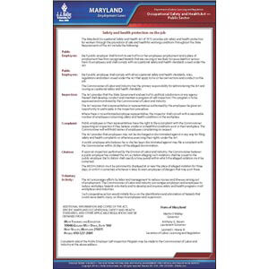 Maryland Workplace Safety & Health for Public Employees Poster
