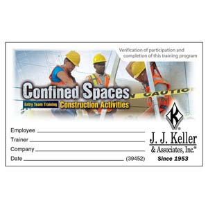 Confined Spaces: Entry Team Training - Construction Activities - Wallet Cards