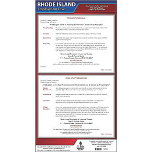 Rhode Island Prevailing Wage Poster