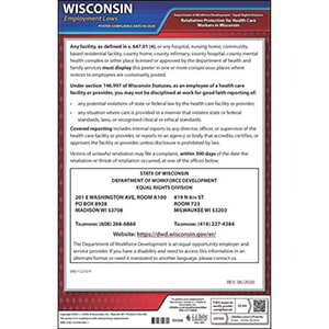 Wisconsin Retaliation Protection for Health Care Workers Poster