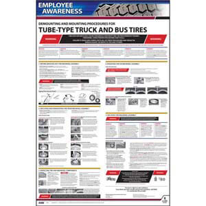 Demounting & Mounting Procedures for Tube-Type Truck & Bus Tires (OSHA 3402) - Employee Awareness Poster