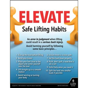 Safe Lifting Habits - Workplace Safety Training Poster