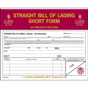 Straight Bill Of Lading - Short Form - Retail Packaging