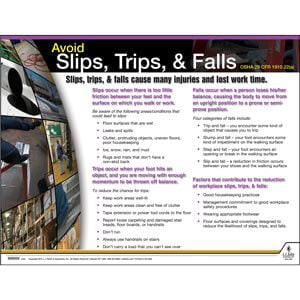Slips, Trips & Falls Instructional Chart
