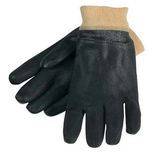 MCR Safety Black PVC Gloves w/Knit Wrist