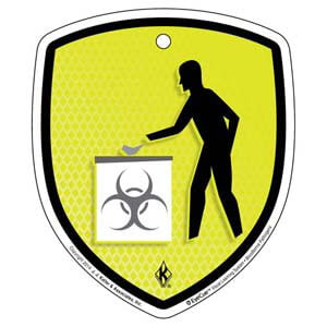 EyeCue® Tags - Bloodborne Pathogens Discard In Biohazard Waste Container Reminder