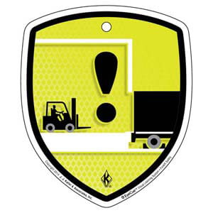 EyeCue® Tags - Forklift Operating Safely On Loading Dock Reminder