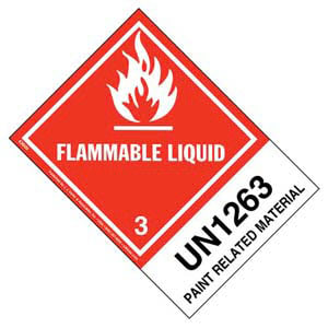 Numbered Panel Proper Shipping Name Labels - Class 3, Flammable Liquid - Paint-Related Material UN 1263