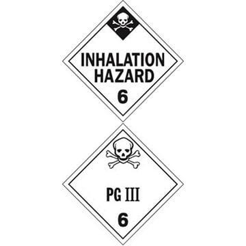 Division 6.1 Inhalation Hazard, Division 6.1 PG III Placard - Worded