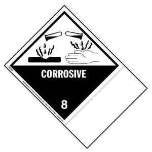 Class 8 Corrosive Labels - Blank Shipping Name Panel