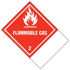 Class 2 Flammable Gas Labels - Blank Shipping Name Panel