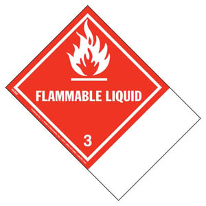 Class 3 Flammable Liquid Labels - Blank Shipping Name Panel