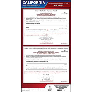 California Access to Employee Exposure and Medical Records Poster