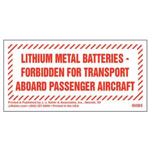 Lithium Metal Batteries Forbidden Marking
