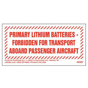 Primary Lithium Batteries Forbidden Marking