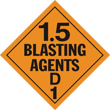 Division 1.5D Explosives Placard - Worded