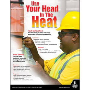 Use Your Head In The Heat - Construction Safety Poster