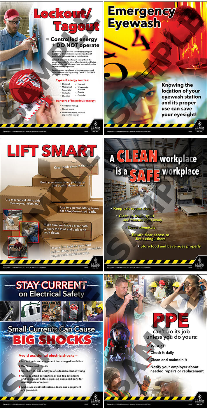 Workplace Safety Poster Set - Laminated