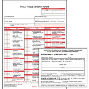 Annual Vehicle Inspection Report (w/ Carbon) + Label - Retail Packaging