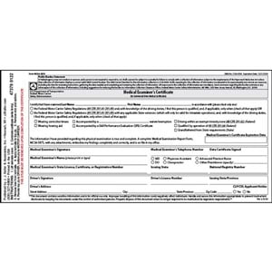 Medical Examination Certificate - Laminated