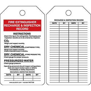 Fire Extinguisher Recharge & Inspection Record - Safety Tag