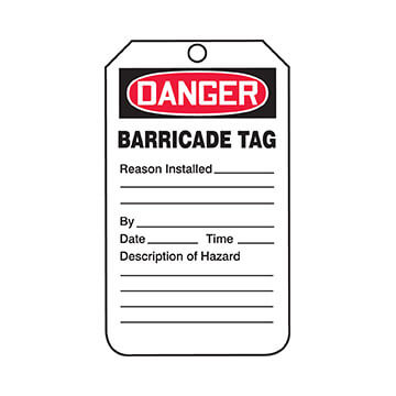 Danger: Barricade Tag - OSHA