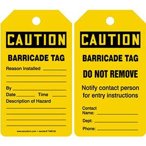 Caution: Barricade Tag - OSHA
