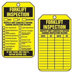 Forklift Inspection - Safety Tag